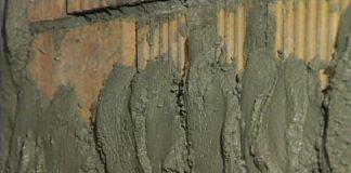 накидка раствора на стену