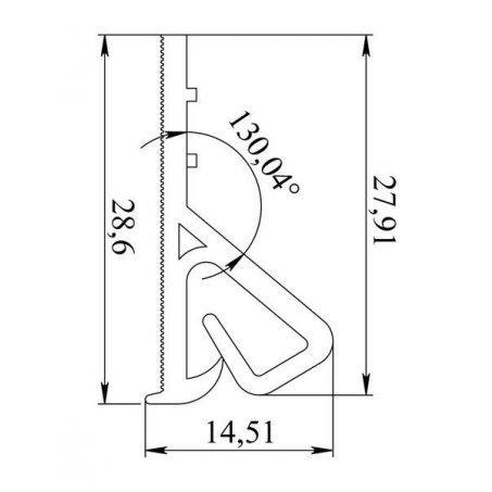Размеры багета под клипсовое (клиновидное) крепление полотна