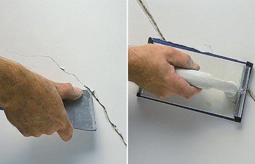 Расширение трещины шпателем с последующей зачисткой