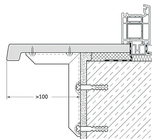 Схема крепления подоконника на кронштейны