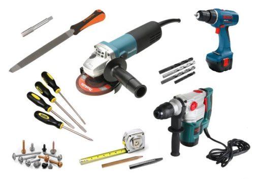 Инструменты и саморезы для установки дверей