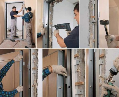 Монтаж дверей на проушины