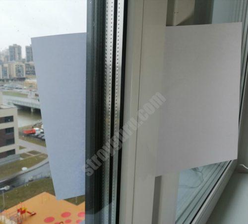 проверка плотности прилегания окна листом бумаги