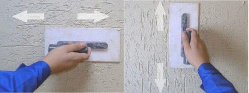 Техника движений при нанесении штукатурки «короед»