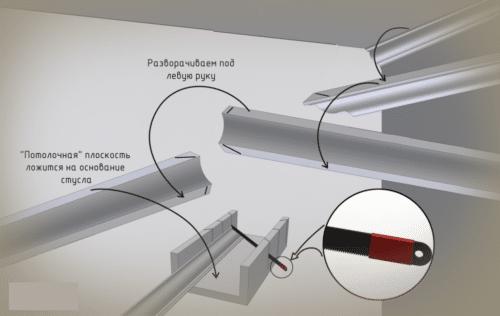 Как резать плинтус с помощью стусла
