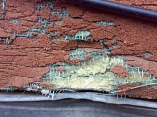 Пенопласт пострадал от падения ветки