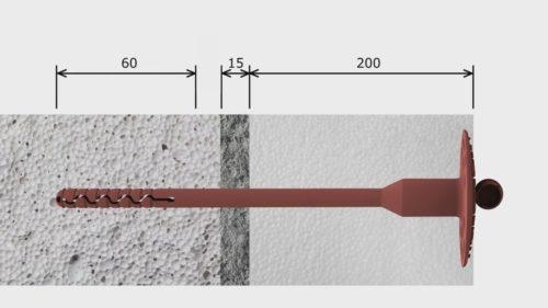Схема крепления дюбелем