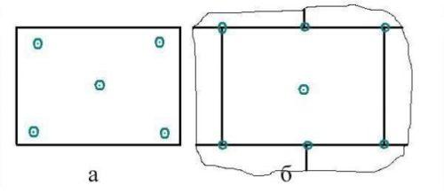 Схема расположения дюбелей
