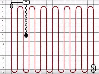 Принципиальная схема укладки двужильного кабеля