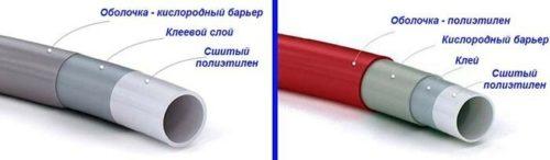 Труба из сшитого полиэтилена марок PE-X (слева) PE-RT (справа)