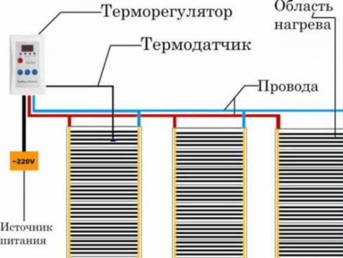 Схема одностороннего подключения с пересечением проводов