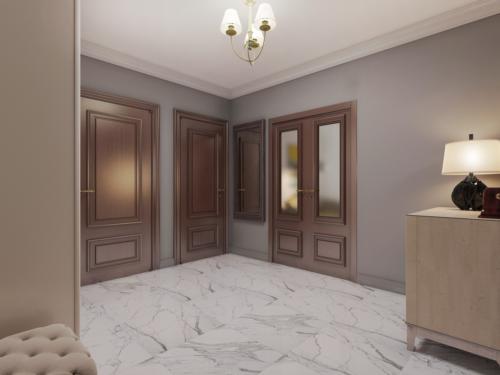 Стены и плинтус в одинаковом цветовом решении увеличивают объем помещения