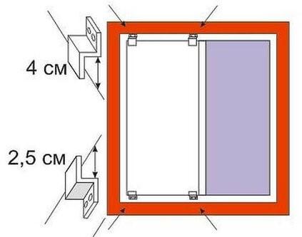 крепеж сдвигается к центру от края светового проема на 10 см