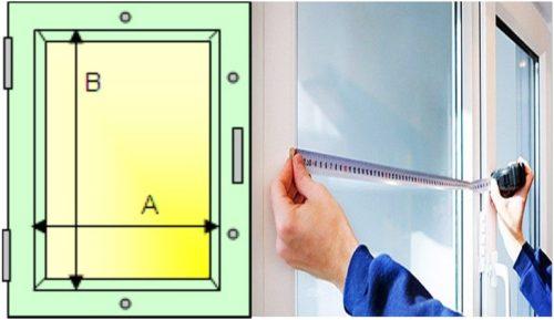 Схема снятия размеров стеклопакета