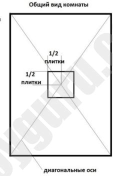 Схема укладки с плиткой точно в центре